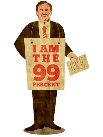 ows: illustration of American male worker protesting