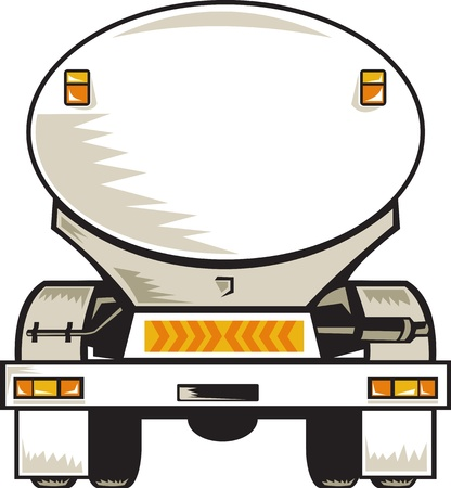 fuel tanker: illustration of a fuel tanker rear view on isolated background done in retro style