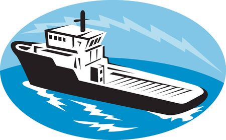 tugboat: illustration of a tugboat ship at sea done in retro woodcut style set inside ellipse Stock Photo
