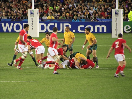 Rugby World Cup 2011 bronze third place match between Australia and Wales at the Eden Park Rugby Stadium in Auckland, New Zealand on Friday October 21, 2011. Editorial