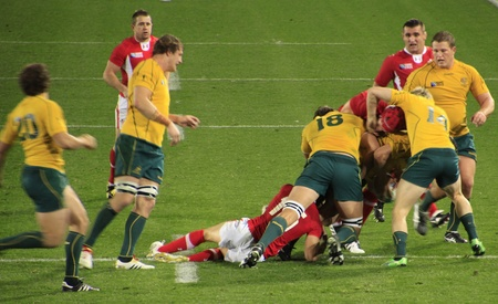 Rugby World Cup 2011 bronze third place match between Australia and Wales at the Eden Park Rugby Stadium in Auckland, New Zealand on Friday October 21, 2011.