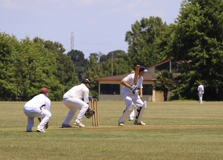 wicket:  Cricket player batsman batting with wicket and wicket keeper on Saturday Jan. 15,2011 at  Pakuranga Cricket Club in Auckland, New Zealand Editorial