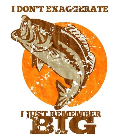 """largemouth bass: ilustraci�n de una lobina saltar hecho en estilo retro con las palabras """"No exagero Recuerdo grande""""."""