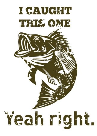 largemouth bass: illustration of a large mouth bass jumping done in retro style with words  i caught this one yeah right. Stock Photo