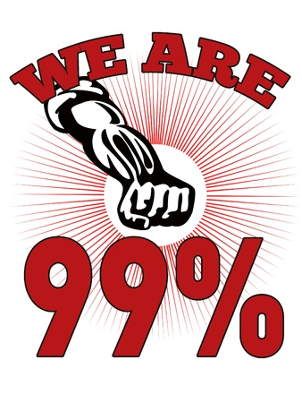 occupy movement: retro style illustration of male worker protesting with clenched fist and words occupy wall street that also dramatizes support of the Occupy Wall Street & Occupy America protest movement  Stock Photo