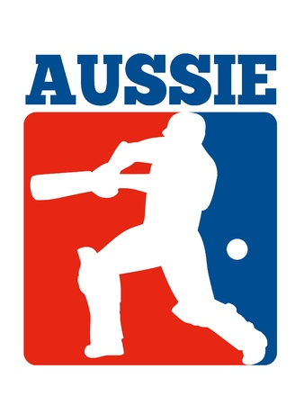 aussie: illustration of a cricket player batsman batting with bat done in retro style with words Australia