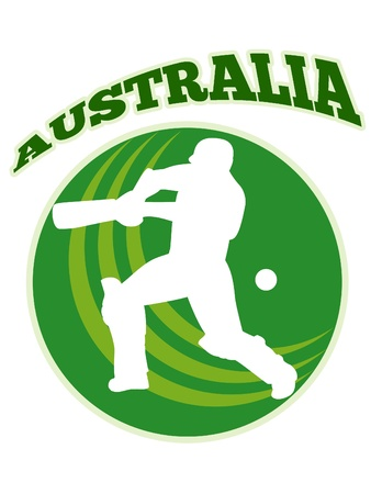 batsman: illustration of a cricket player batsman batting with bat done in retro style with words Australia
