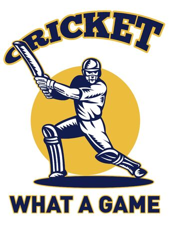 batsman: illustration of a cricket player batsman batting with bat done in retro style with words what a game