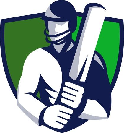 cricket sport: illustration of a cricket player batsman batting with bat set inside shield done in retro style. Stock Photo
