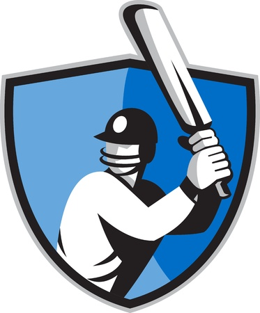 batsman: illustration of a cricket player batsman batting with bat set inside shield done in retro style. Stock Photo