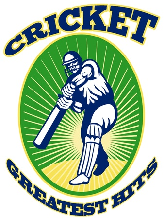 hits: illustration of a cricket player batsman batting with bat done in retro style with words Greatest hits Stock Photo