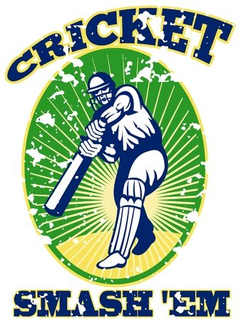 batsman: illustration of a cricket player batsman batting with bat done in retro style with words Smash