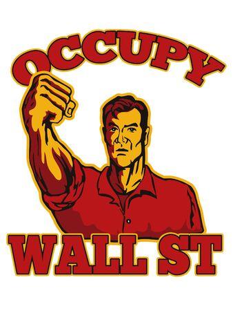 oso perezoso: ilustración de estilo retro de los trabajadores varones que protestaban con el puño cerrado y las palabras ocupan de Wall Street que también se escenifica el apoyo del movimiento de protesta Ocupar Wall Street y Ocupar América