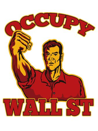 punched: retro style illustration of male worker protesting with clenched fist and words occupy wall street that also dramatizes support of the Occupy Wall Street & Occupy America protest movement Stock Photo