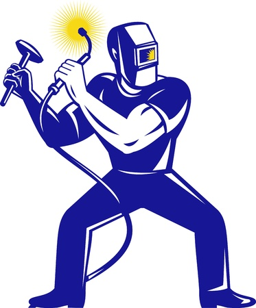 soldadura: ilustración de un soldador soldadura sosteniendo equipos de soldadura y un martillo en cuclillas frente a frente en fondo blanco Foto de archivo