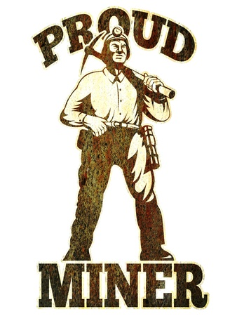 COAL MINER: graphic design illustration of a coal miner pick axe retro retro style with words proud miner  Stock Photo