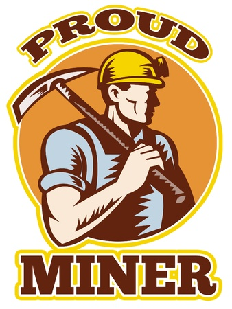 mine: graphic design illustration of a coal miner pick axe retro retro style with words proud miner  Stock Photo
