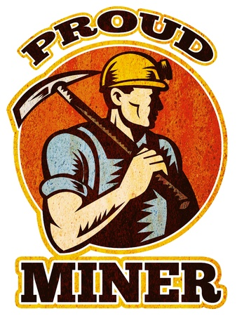 mine worker: graphic design illustration of a coal miner pick axe retro retro style with words proud miner  Stock Photo
