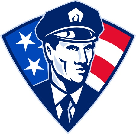illustration of an American policeman police officer security guard with stars and stripes flag set inside shield done in retro style.