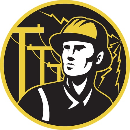 illustration of a power lineman electrician repairman worker looking up with electric utility pole post and lightning bolt in the background set inside a circle.  illustration