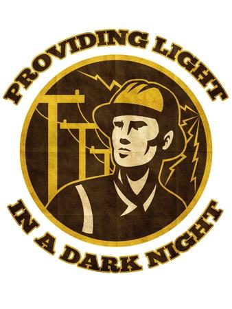 blitz symbol: Illustration der Macht Lineman Elektriker Handwerker Arbeiter mit elektrischen Strommast Pfosten und Blitz in einem Kreis mit Worten, die Licht in einer dunklen Grunge-Stil eingerichtet