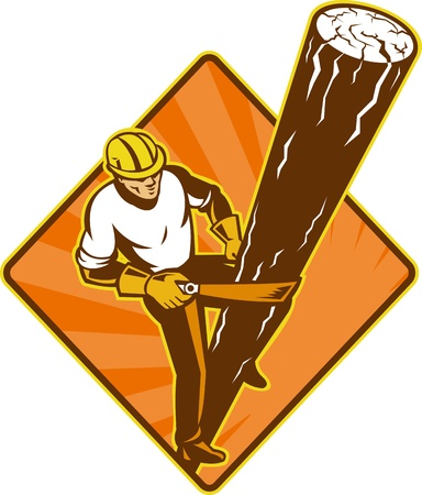 illustration of a power lineman electrician repairman worker at work climbing electric utility pole set inside diamond on isolated background viewed from a high angle   illustration