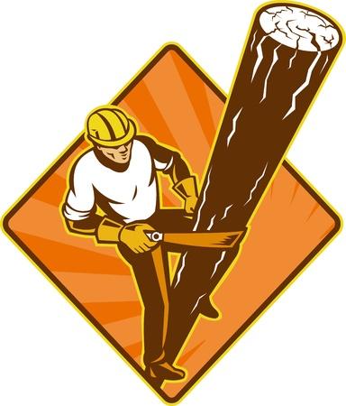 ilustraci�n de un liniero electricista reparador de poder de los trabajadores en el trabajo subir poste el�ctrico establecido en el interior del diamante en el fondo aislado se ve desde un �ngulo alto Foto de archivo - 11216386