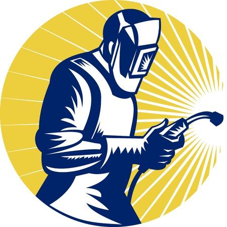 soldador: ilustración de estilo retro de un soldador en el trabajo con la antorcha vista del juego de lado dentro del círculo Foto de archivo