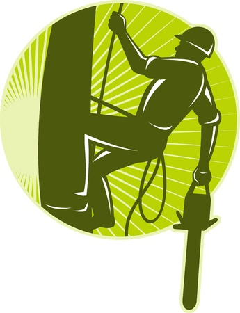 chain saw: illustration of an arborist tree surgeon with chainsaw climbing a tree done in retro style set inside circle