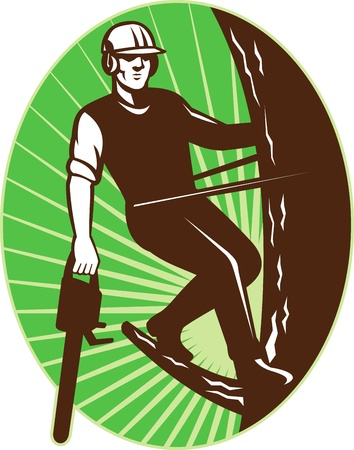 illustration of an arborist tree surgeon with chainsaw climbing a tree done in retro style set inside an ellipse  illustration