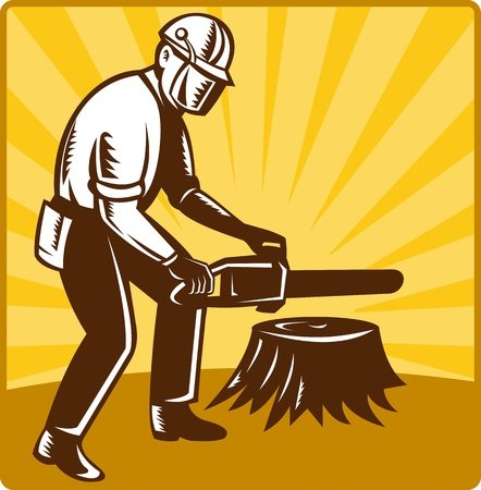 illustration of an arborist tree surgeon with chainsaw cutting tree stump done in retro style set inside square