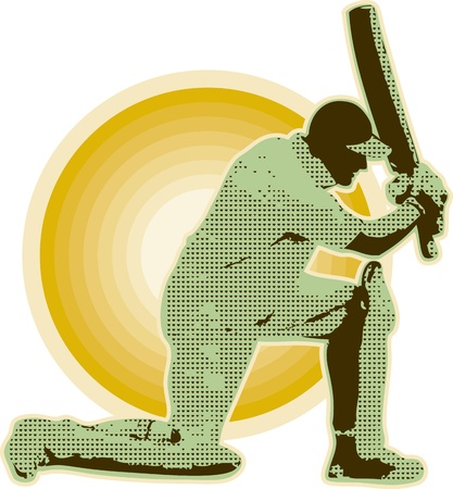 batsman: graphic design illustration of a cricket player batsman batting done in retro style  Stock Photo