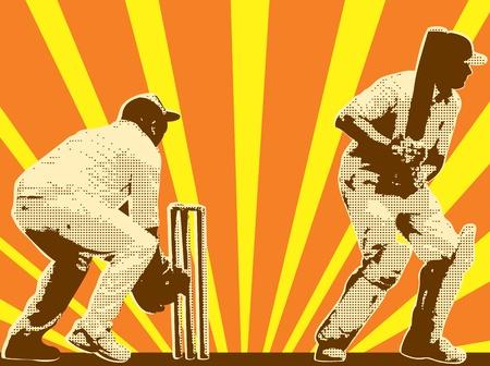 cricket: design illustrazione grafica di un giocatore di cricket battuta battitore con wicket keeper fatto in stile retr� con raggera in background.