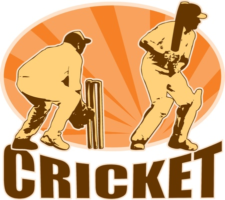 wicket: graphic design illustration of a cricket player batsman batting with wicket keeper done in retro style with sunburst in background.