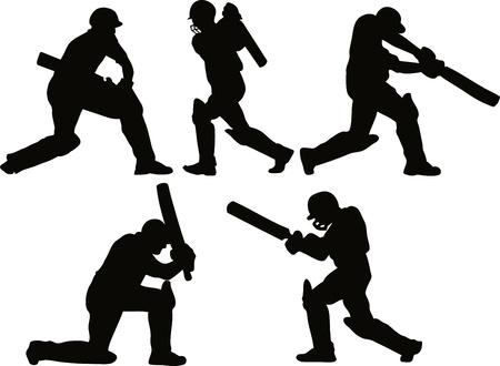cricket: design illustrazione grafica di un giocatore di cricket sagome battere battitore su sfondo bianco isolato Archivio Fotografico