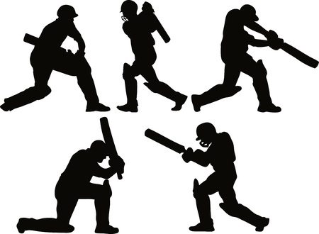 crickets: graphic design illustration of a cricket player batsman batting silhouettes on isolated white background