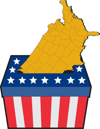 illustration of an election ballot box with American stars and stripes flag and map of United States of America on isolated background Stock Illustration - 11301458