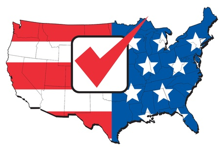 electing: illustration of map of United States of America with stars and stripes American flag and tick mark Stock Photo