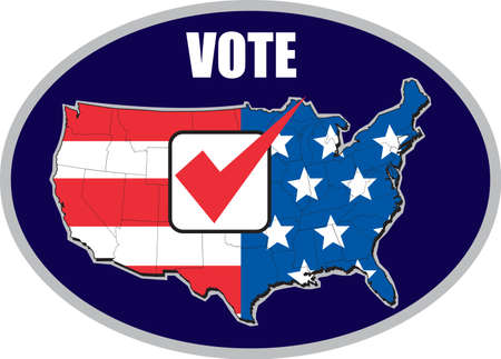 electing: illustration of map of United States of America with stars and stripes American flag and tick mark and words vote