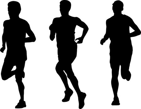 jogger: illustration of a marathon runner running jogging silhouettes on isolated white background Stock Photo