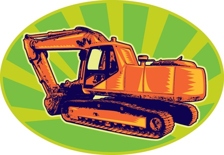 maquinaria pesada: ilustración de una excavadora de construcción mecánicos del tractor excavadora excavadora hecha en estilo retro conjunto dentro de elipse Foto de archivo