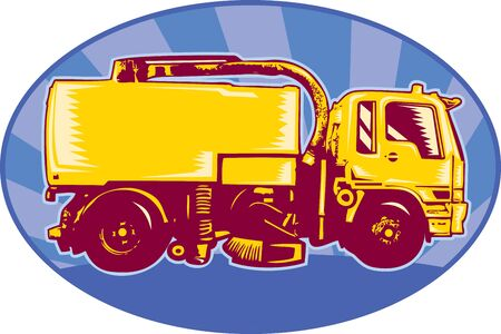 sweeper: illustration of a street cleaner sweeper truck viewed side view done in retro style set inside an ellipse with sunburst.  Stock Photo