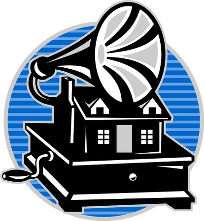 gable: Illustration of a vintage gramophone with an old house cottage done in retro woodcut style with circle in the background.
