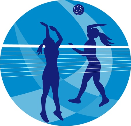 volleyball player: Illustration of a female volleyball player spiking hitting ball with other player blocking on isolated background.