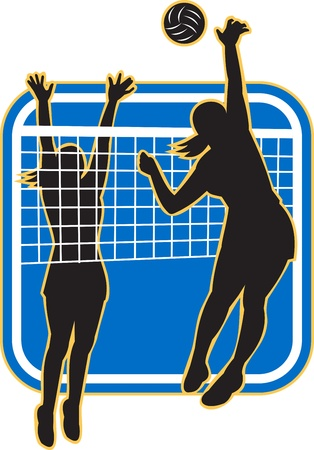 blocking: Illustration of a female volleyball player spiking hitting ball with other player blocking on isolated background.