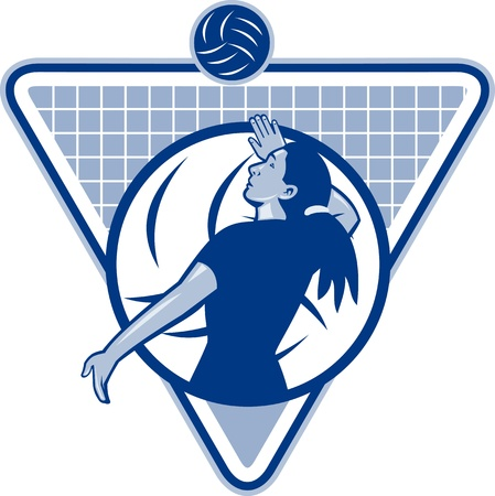 serve: Illustration of a female volleyball player serving ball viewed from side set inside triangle shield. Stock Photo