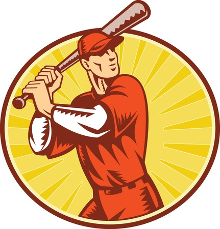 baseball player: illustration of a baseball player batting set inside circle with sunburst done in retro woodcut style. Stock Photo