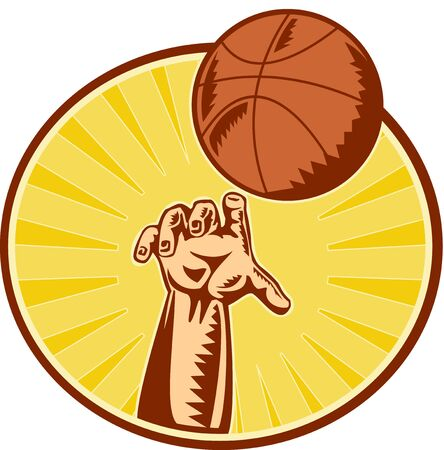 rebounding: illustration of a hand catching ,throwing and rebounding basketball ball done in retro woodcut style set inside circle with sunburst in background. Stock Photo