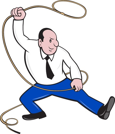 lasso: illustration of a businessman holding a lasso rope done in cartoon style on isolated background Stock Photo