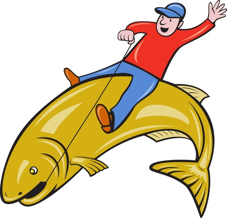illustration of a fly fisherman riding a jumping trout fish done in cartoon style on isolated white background. illustration